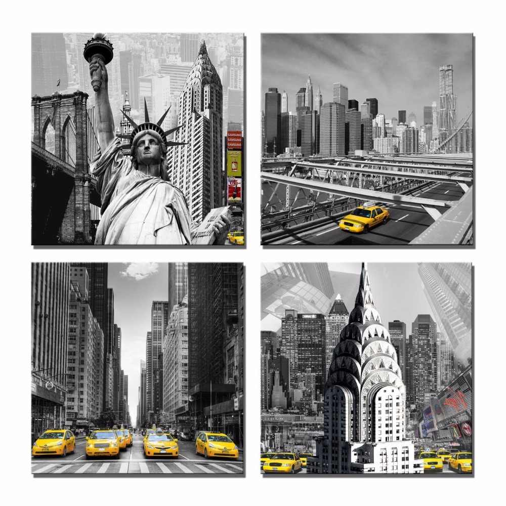 America New York City Street View Yellow Taxi Canvas Painting Living Room Decoration Tall Buildings Wall Art Poster Time Square
