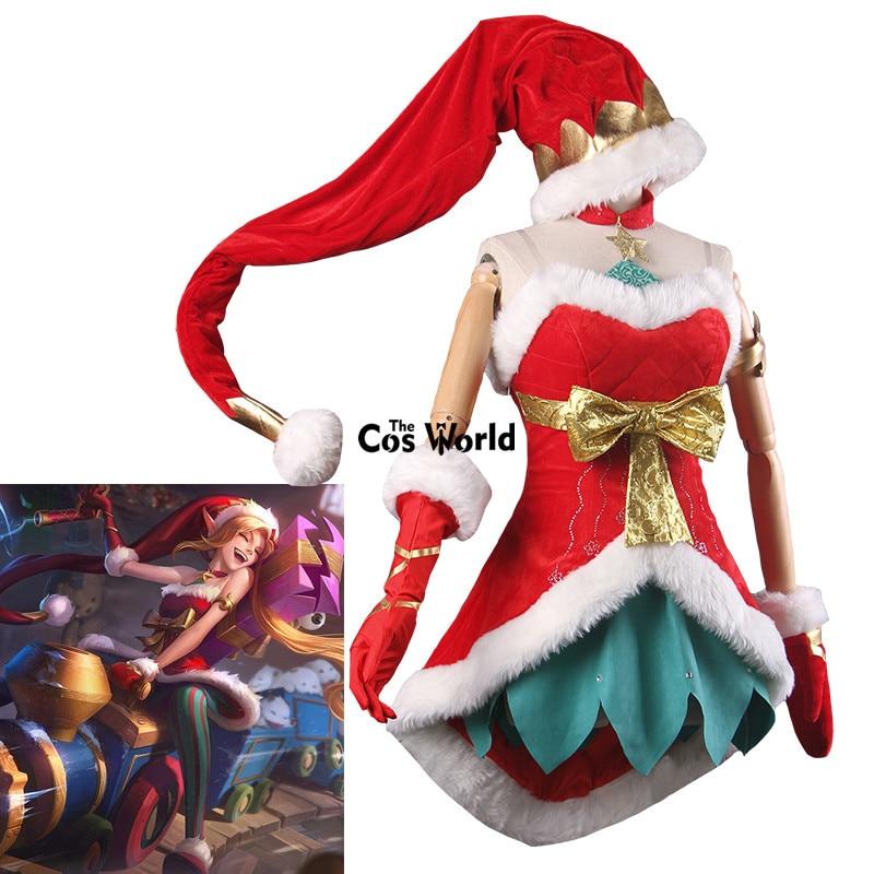 LOL Jinx le Danger public Glace Neige Festival Noël NOËL Boob Tube Top Robe Uniforme Tenue Jeux Cosplay Costumes
