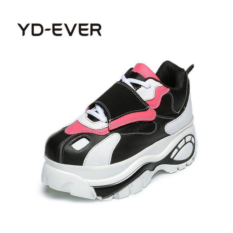 YD-EVER 2018 Fashion brand Spring Women High Platform Height increasing leather Sneakers Shoes Thick Sole Trainers Lady Shoe