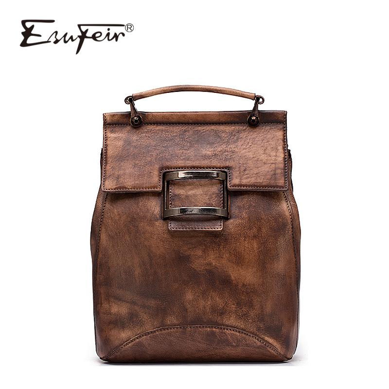 2018 Fashion Genuine Leather Women Backpack Casual Girls School Shoulder Backpack Bags High Quality Vintage Wipe Color Backpack 2016 new fashion women backpack girls leather school bag women casual style shoulder bags sweet color