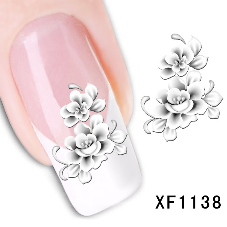 купить  flower design Water Transfer Nails Art Sticker decals lady women manicure tools Nail Wraps Decals wholesale XF1138  онлайн