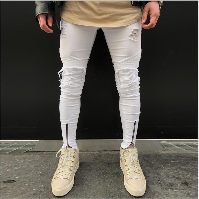 Men Fashion Ripped Jeans Bottom Ankle Zipper Skinny Fit Trousers Slim Distressed Denim Pants hip hop streetwear white 2017 ripped straight jeans men slim fit zipper jeans men s hole denim fabric hip hop skinny cotton white blick pants casual mens