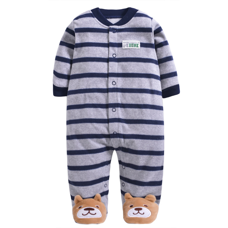 0 12M Autumn Fleece Baby Rompers Cute Pink Baby Girl Boy Clothing Infant Baby Girl Clothes Jumpsuits Footed Coverall in Rompers from Mother Kids