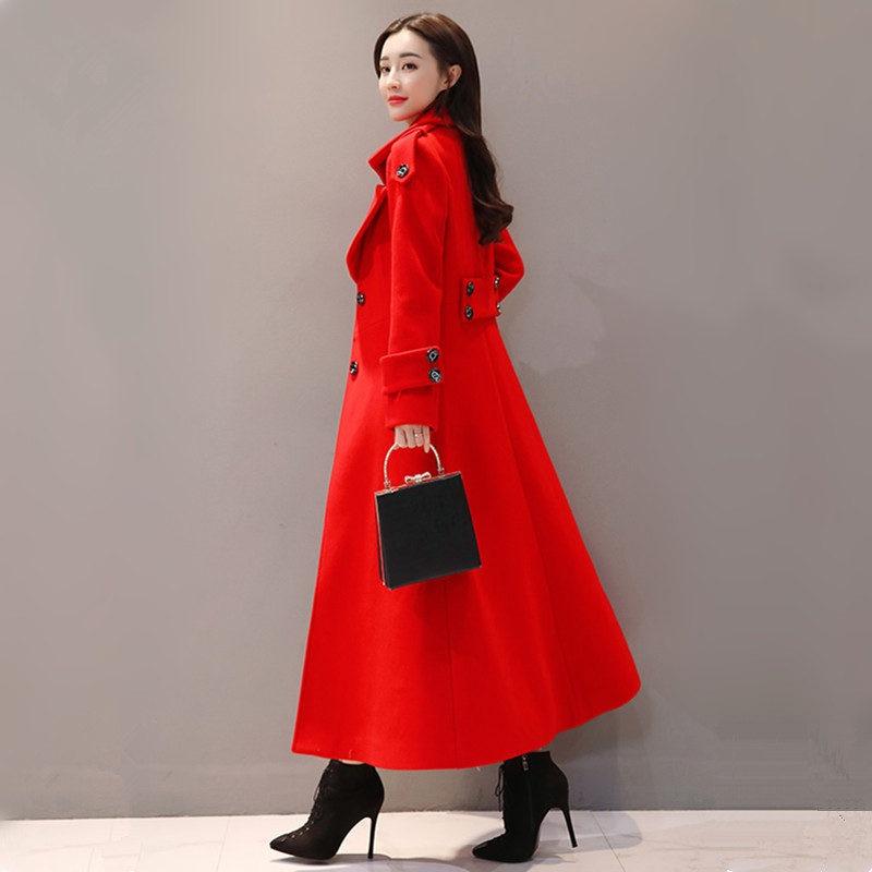 Rosso Lungo Cappotto di Lana Delle Donne Monopetto Addensare Cappotto di Inverno Delle Donne di Modo Elegante Delle Signore Parka Abrigo Mujer Cappotto Di Lana c4707 - 6
