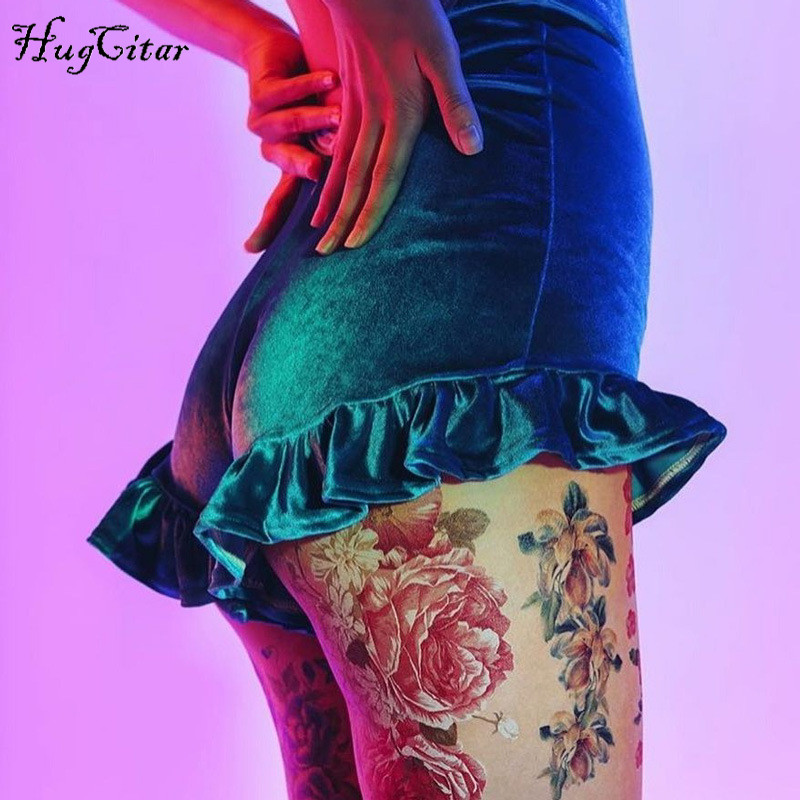 Hucgcitar high waist velvet cotton ruffles sexy   shorts   2018 autumn women new fashion christmas solid   shorts