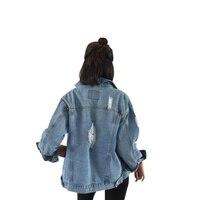 Women Long Sleeve Basic Coats Denim Jacket Vintage 2017 Autumn Winter Women Loose Jeans Coat Casual