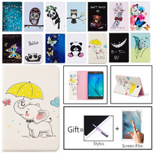 New Folio Printed Owl Bear For Samsung Galaxy Tab A 8.0 T350 Case Flip PU Bracket Funda For Tab A 8.0 SM-T350 T355 Tablet Case 8 for samsung galaxy tab a 8 0 t350 t355 galaxy tab e 8 0 leather universal case cover for samsung printed tablet stand case