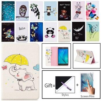 цена на New Folio Printed Owl Bear For Samsung Galaxy Tab A 8.0 T350 Case Flip PU Bracket Funda For Tab A 8.0 SM-T350 T355 Tablet Case