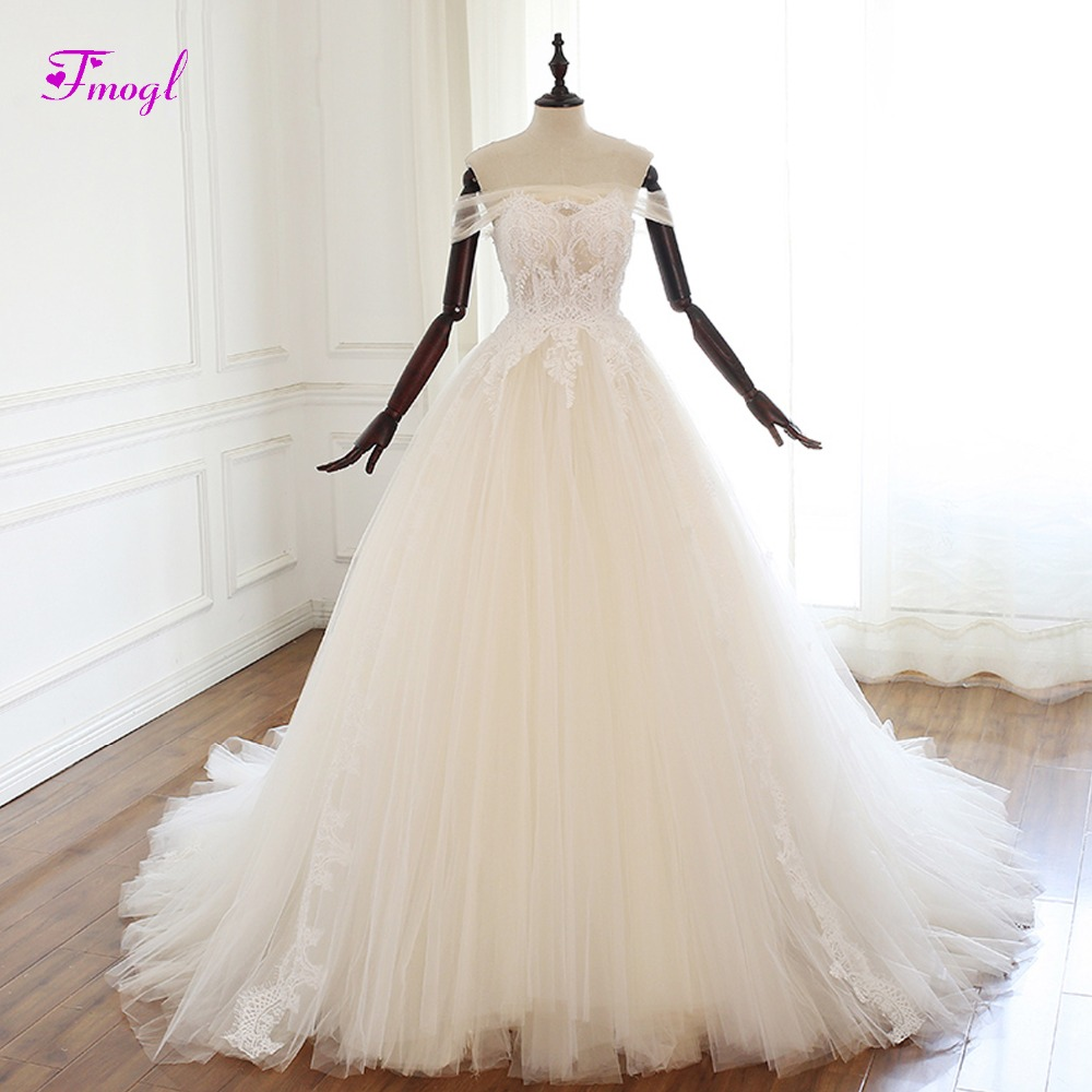 Fmogl Sexy Boat Neck Lace Up A Line Wedding Dress 2019 Gorgeous Appliques Beaded Princess Bridal