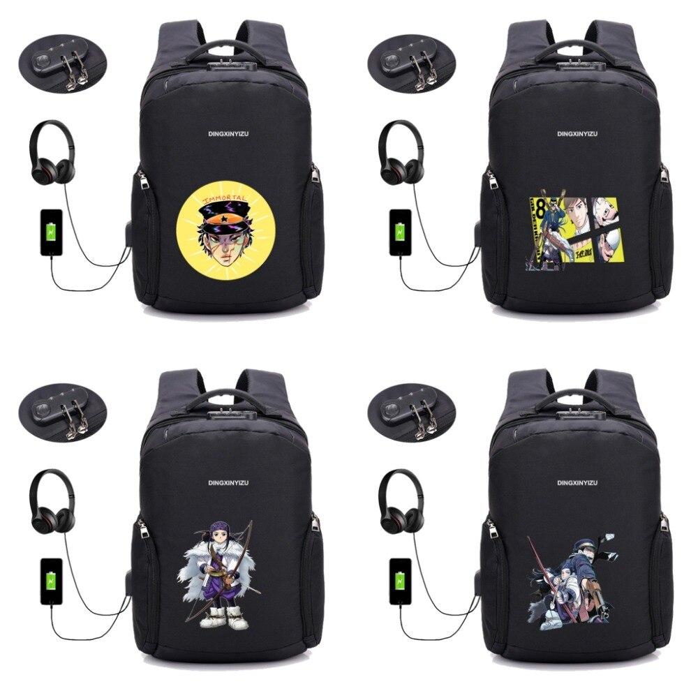 anime Golden Kamuy backpack Anti-theft USB Charging backpack men women Laptop Travel Bag School book Backpack 16 styleanime Golden Kamuy backpack Anti-theft USB Charging backpack men women Laptop Travel Bag School book Backpack 16 style