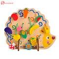Забавные Деревянные Математические игрушки ежик низания бисера фрукты обучения детей подарок яркий развивающие мягкие Монтессори дети интеллектуальные