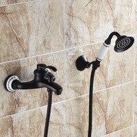 Все Медь Черный Бронзовый латунь керамика для ванной смесители для душа баррель стены санитарно горячей и холодной водопроводной воды
