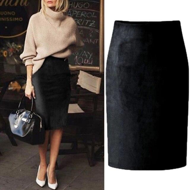 High Waist Suede Pencil Skirt 2