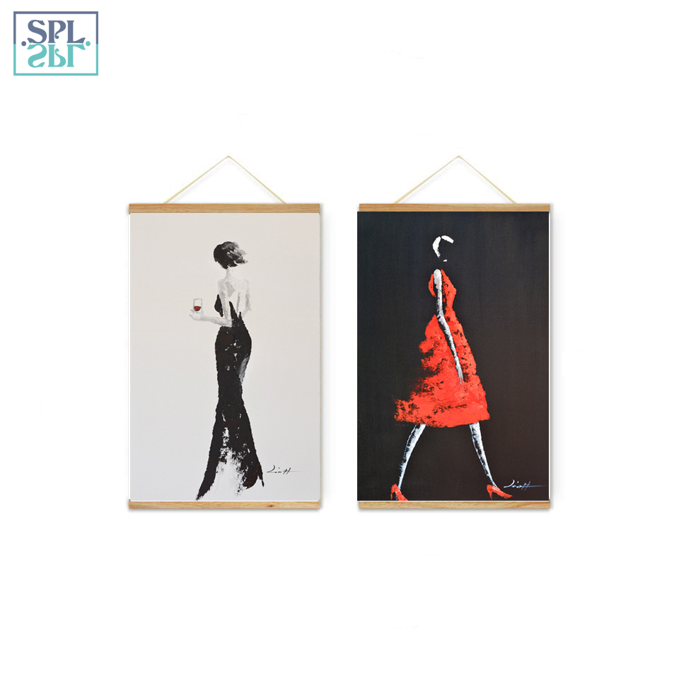 SPLSPL Abstract Home Decor Picture Hand Drawn Fashion Girl Canvas Print Wall Art Poster and Painting for Kids Room Ornamentation