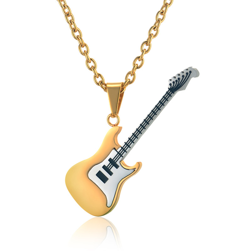 Guitar Necklace & Pendant Stainless Steel Music Jewelry DSC_0828