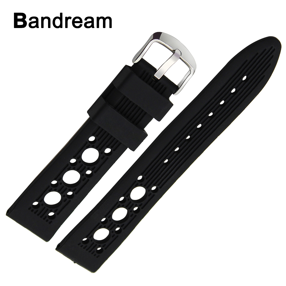 Silicone Rubber Watchband 20mm 22mm <font><b>24mm</b></font> +Tool for <font><b>Breitling</b></font> Avenger Super Ocean Navitimer Watch Band Steel Buckle Wrist <font><b>Strap</b></font> image