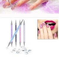Top selling 5pcs/set Acrylic 2 Ways Nail Art Dotting Pen Colorful Rhinestone Nail Decoration Painting Brush Nails Design Tools