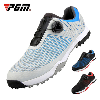 PGM Men's Golf Shoes Buckle Waterproof Sneakers Breathable Rotating Shoelaces Trainers Male Slip Resistant Golf Shoes D0704