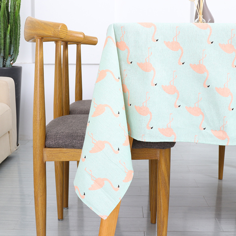 Natural Blended Tablecloth Modern Flamingos Table Cover Towel Restaurant Furniture Decoration Table Cloth For Kitchen image