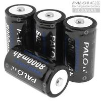 PALO 4pcs 1.2V D Size 8000mAh Ni MH Rechargeable Battery with Over current Protection for Flashlight / Water Heater / Gas Stove