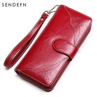 Sendefn Oil Wax Leather Vintage Women Wallet Dark Blue Long Zipper Purse Women Leather Special Hollow Out Clutch Women 5161 69