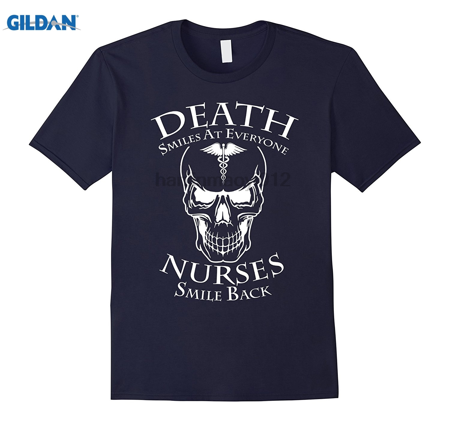 GILDAN Death Smiles At Everyone Nurses Smile Back T-Shirt Womens T-shirt Hot Womens T-sh ...