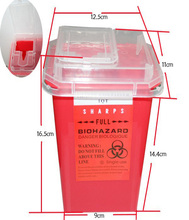 Professional 1L Tattoo Sharps Container Plastic Red Biohazard Needle Disposal Sharps Containers For Tattoo Artists