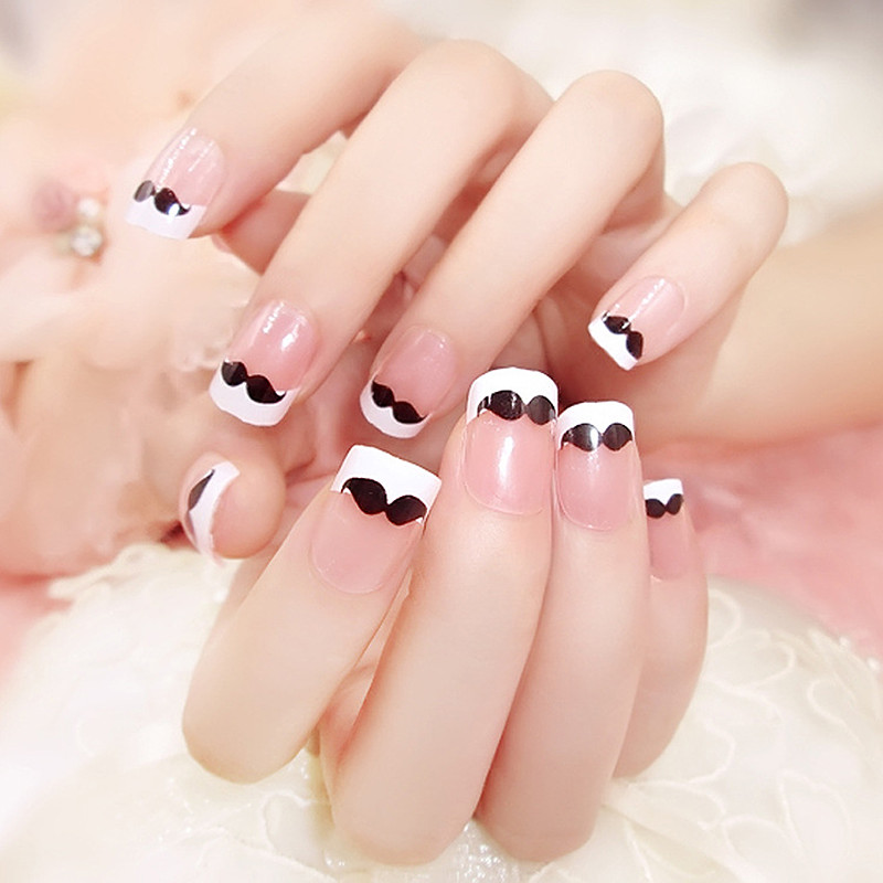 Beauty French Fake Nails Full Cover European Simple Manicure ...