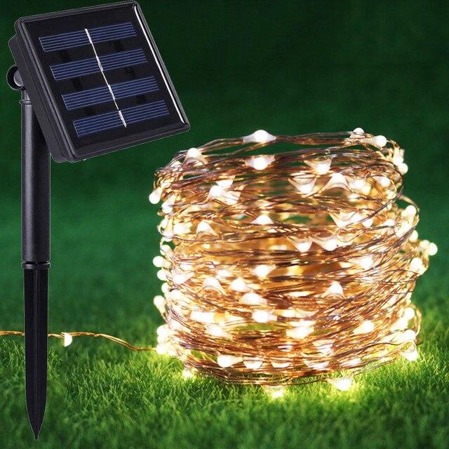 Lumiere Solaire Jardin 10/20 m 8 mode fil de cuivre Étanche solaire jardin lumière solaire