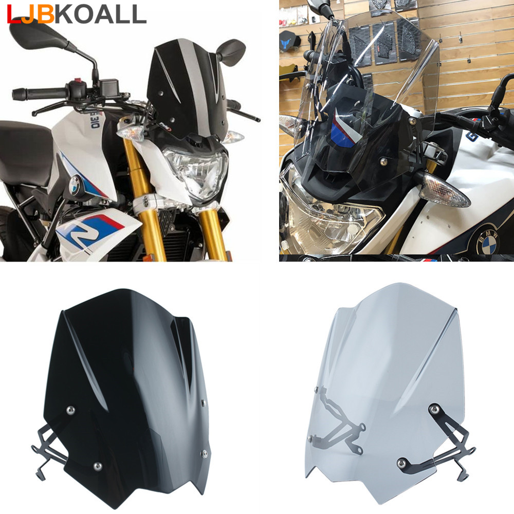 LJBKOALL ABS Windshield WindScreen Visor Viser Double Bubble Motorcycle parts For BMW G310R G 310R 2016 2017 2018 Black / Smoke for bmw g310r 2017 on motorcycle windshield windscreen with mounting bracket high quality abs plastic