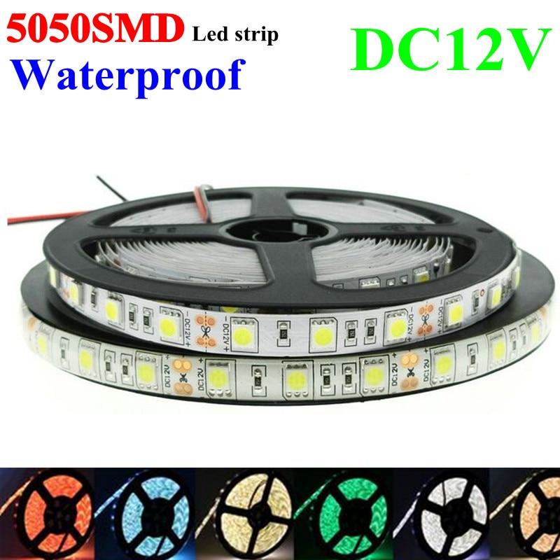 5050SMD Ledová žárovka 5m / šarže 60l / m DC12V IP65 Flexibilní lehký voděodolný Bílý / teplý Studený bílá / Bílá / Modrá / Zelená / Červená / Žlutá / RGB