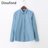 Dioufond 2018 New Women Denim Blouses Long Sleeve Casual Ladies Pockets Blouse Shirt Plus Size Button
