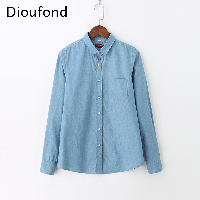 Dioufond 2018 New Women Denim   Blouses   Long Sleeve Casual Ladies Pockets   Blouse     Shirt   Plus Size Button Down Blusa Jeans Feminina