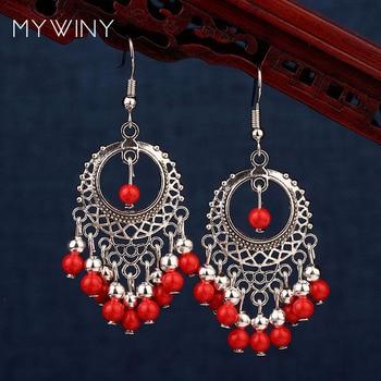 Big star ręcznie w stylu vintage chiński wiatr tybetański srebrne kolczyki, nowe oryginalne etniczne biżuteria proste kolczyki z koralików,