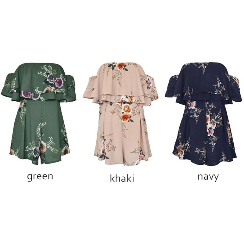 Летние Для женщин пикантные комбинезон Зеленый Повседневное feminino завернутый груди Холтер с цветочным принтом Комбинезон