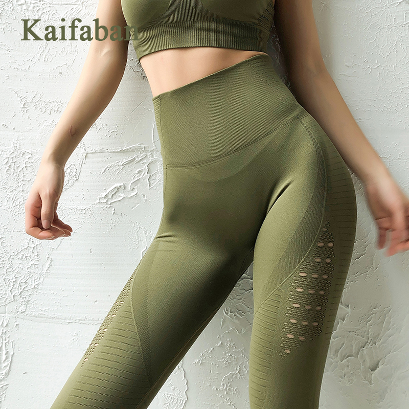 Women High Waist Seamless Yoga Pants Leggings Fitness 2019 Hole Mesh Quick Dry Sport Gym Running Sweatpants Tights Sportswear(China)