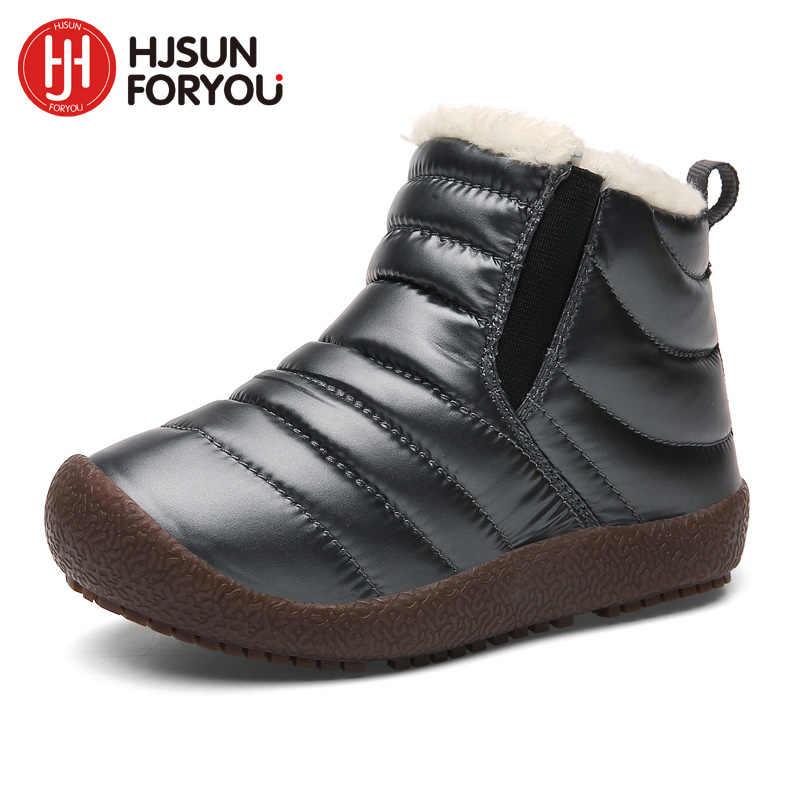 2019 ฤดูหนาวใหม่รองเท้าเด็กรองเท้าหนังกันน้ำ Martin Boots สำหรับแบรนด์ชายรองเท้าแฟชั่นรองเท้าผ้าใบเด็ก Snow Boot