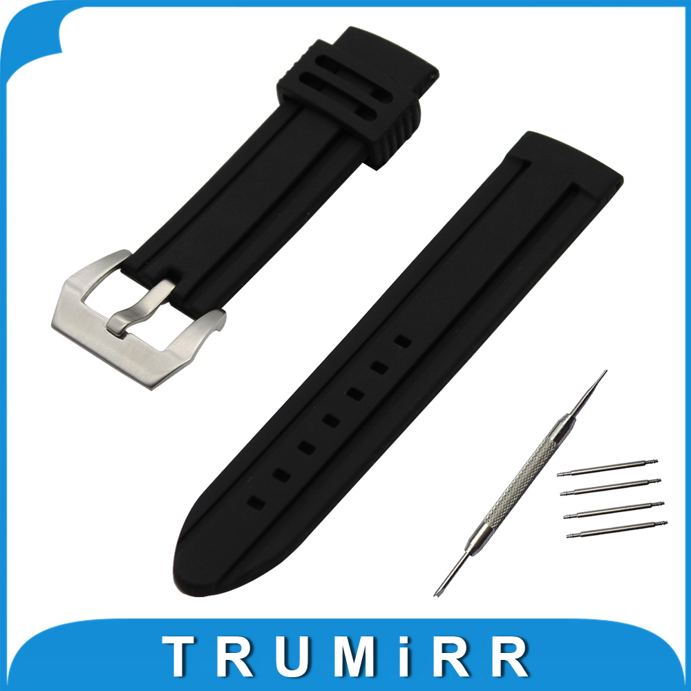 21mm 22mm 23mm 24mm Silicone Rubber Watch Band Universal Watchband Stainless Steel Pre-v Buckle Strap Wrist Belt Bracelet silicone rubber watchband double side wearing strap for armani ar watch band wrist bracelet black blue red 21mm 22mm 23mm 24mm