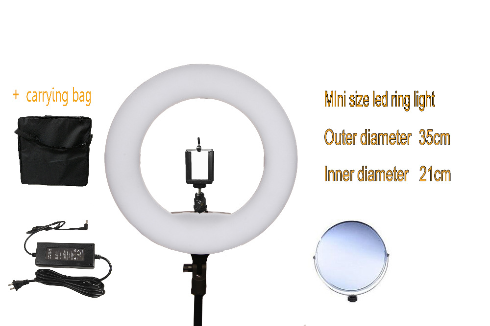 Yidoblo 12 FS-390II Bi-color Mini size Ring Light LED Soft light Lamp Photographic Make-up Lighting 38W 192 LED Lights + bag