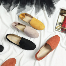 цены Suede Flat-bottom Square Toe women shoes 2019 new Spring Autumn shoes woman Concise College British wind lazy ladies shoes