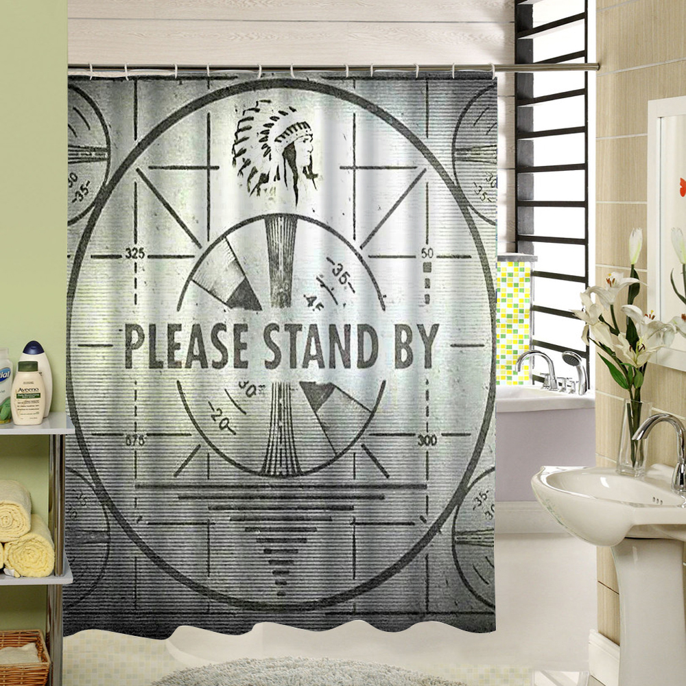 Machine Washable Fabric Shower Curtain Black Abstract Desgin 3D ...