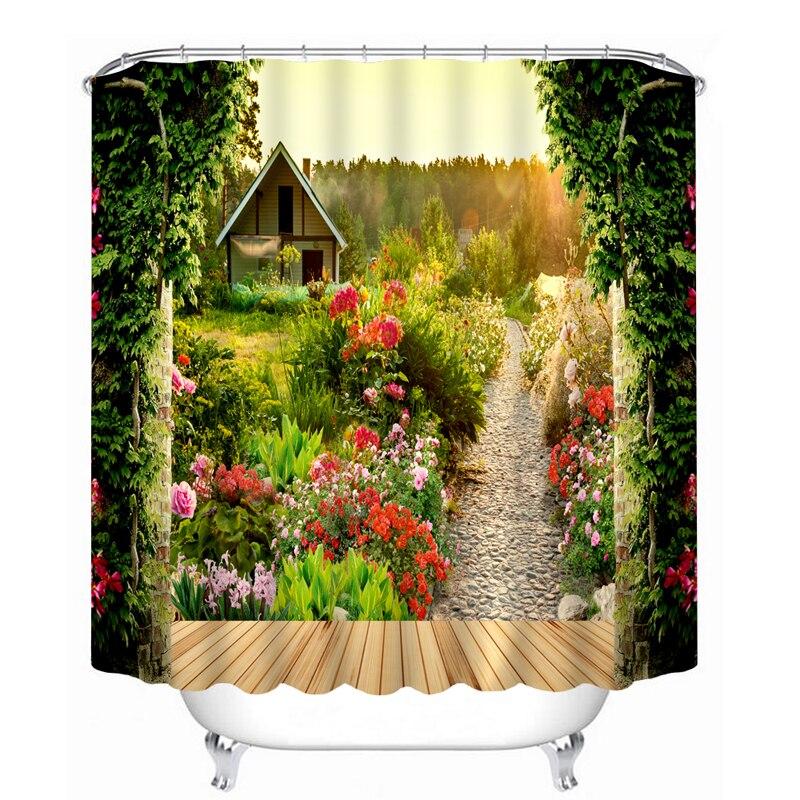 Pastoral 3D Shower Curtains Flower Garden Scenery Pattern Bathroom Curtains Waterproof Washable Bath Curtain Bathroom Products