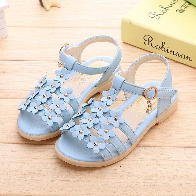 2016 newSummer style children sandals Girls princess beautiful flower shoes kids flat Sandals baby Shoes wholesale tide sneakers