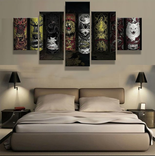 Game Of Thrones Wall Art aliexpress : buy 5 panel canvas print game of thrones painting