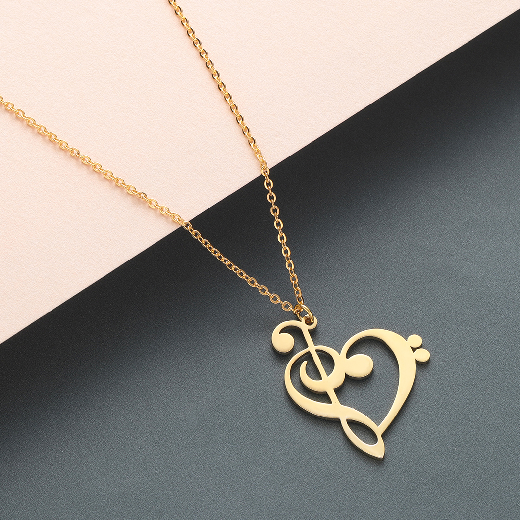 Todorova Music Note Heart of Treble and Bass Clef Necklace Women Infinity Love Charm Pendant Necklace Stainless Steel Jewelry 1