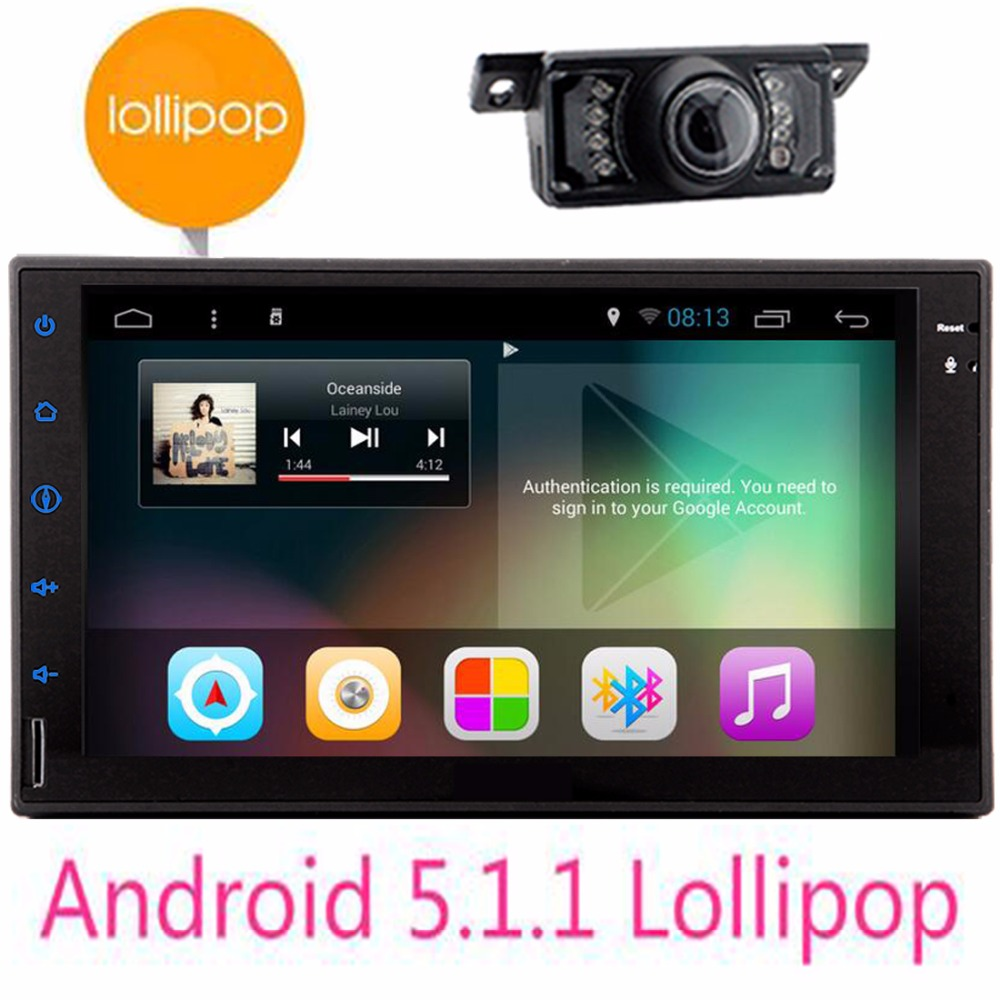 Double din Car Multimedia Player Quad Core Android 5.1 HD Full Touch Screen Double 2 Din Car Radio Head Unit steering wheel cont