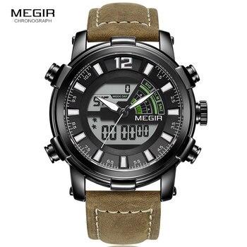 Megir Men's Digital Chronograph Quartz Watches Sports Double Time Zone Leather Strap Luminous Hands Wrist Watch Man ML2089 B