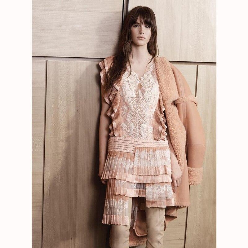 New Australia holiday wind fan ~ pleated lace neckline lace multi asymmetric dress Pankou back