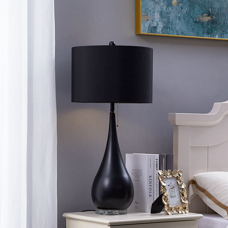 Lampe de Table en cristal de commutateur de traction de fil moderne pour le salon de chambre à coucher lampe de bureau créative noire mate en métal de forme de goutte d'eau