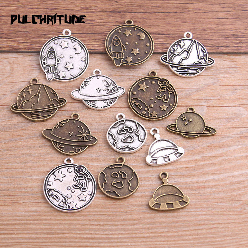 8PCS Mix 7 Styles New Product Two Color Outer Space Charms Planet Rocket Pendant Jewelry Metal Alloy Jewelry Marking